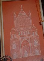 Taj Mahal Inspired Indian Temple ~ Blackwork Embroidery Pattern