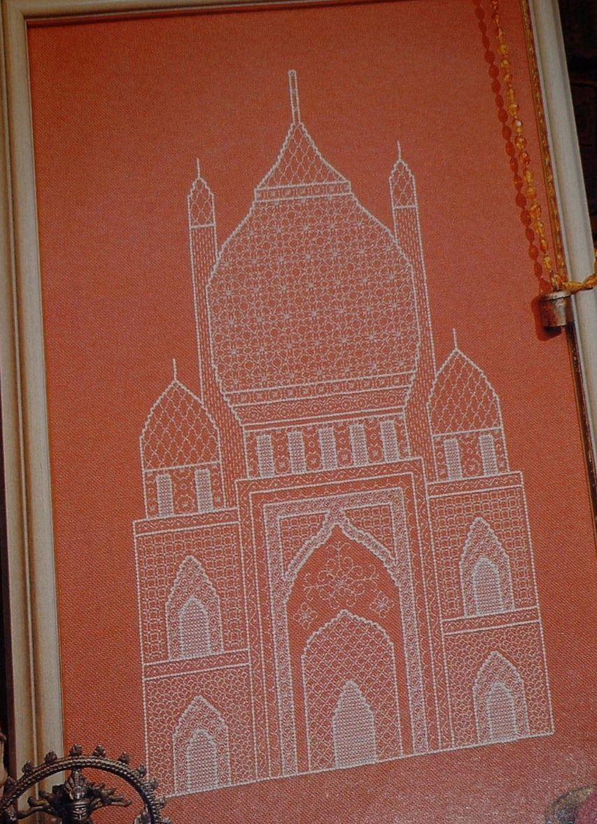 Taj Mahal Inspired Indian Temple ~ Blackwork Embroidery Pattern