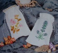 Lavender & Rose Beaded Sachets ~ Cross Stitch & Beadwork Charts