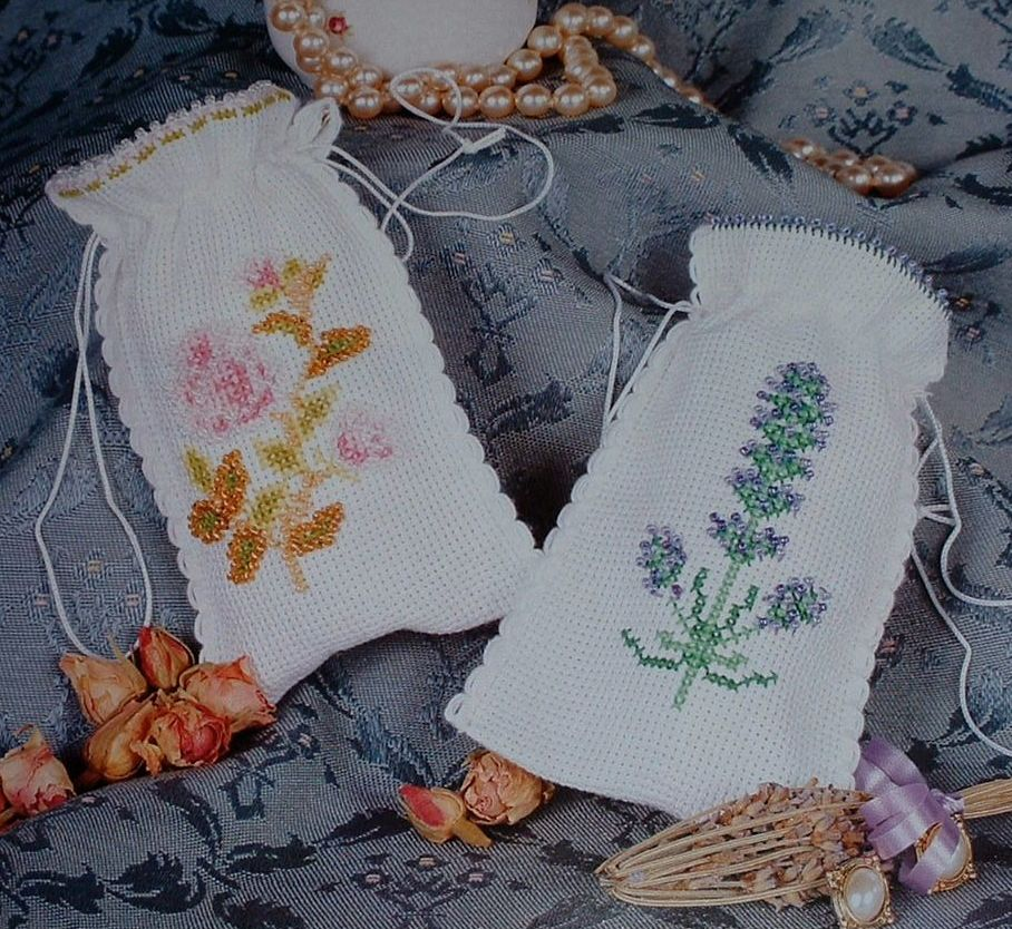 Lavender & Rose Beaded Sachets ~ Cross Stitch & Beadwork Charts