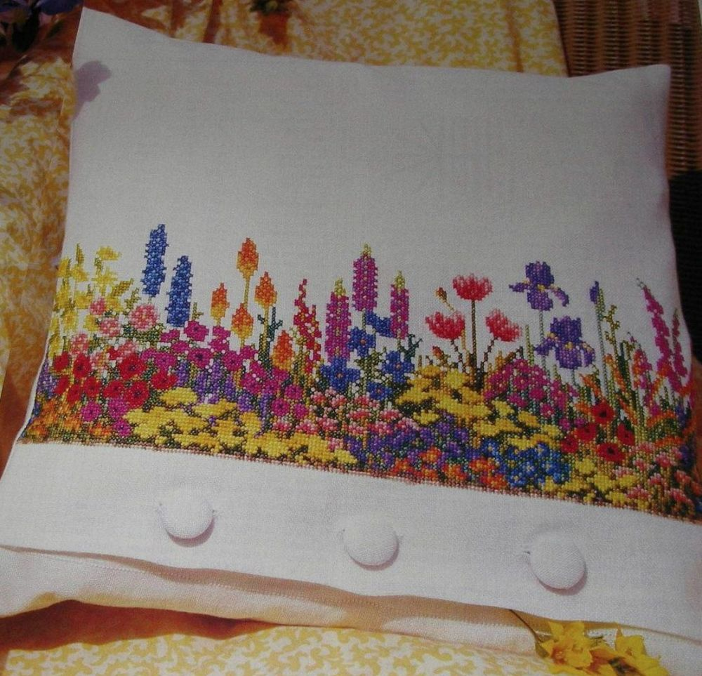 Cottage Garden Floral Border Cushion ~ Cross Stitch Chart