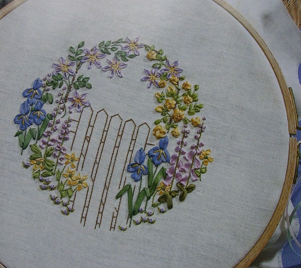Embroidered Gate with Ribbonwork Archway ~ Embroidery Pattern