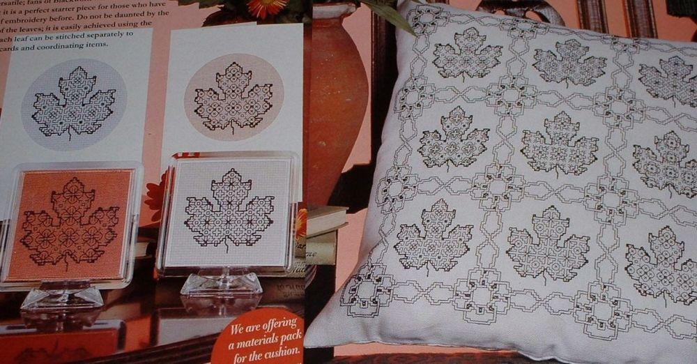 Blackwork Leaves: Cushion, Cards & Coasters ~ Blackwork Embroidery Pattern