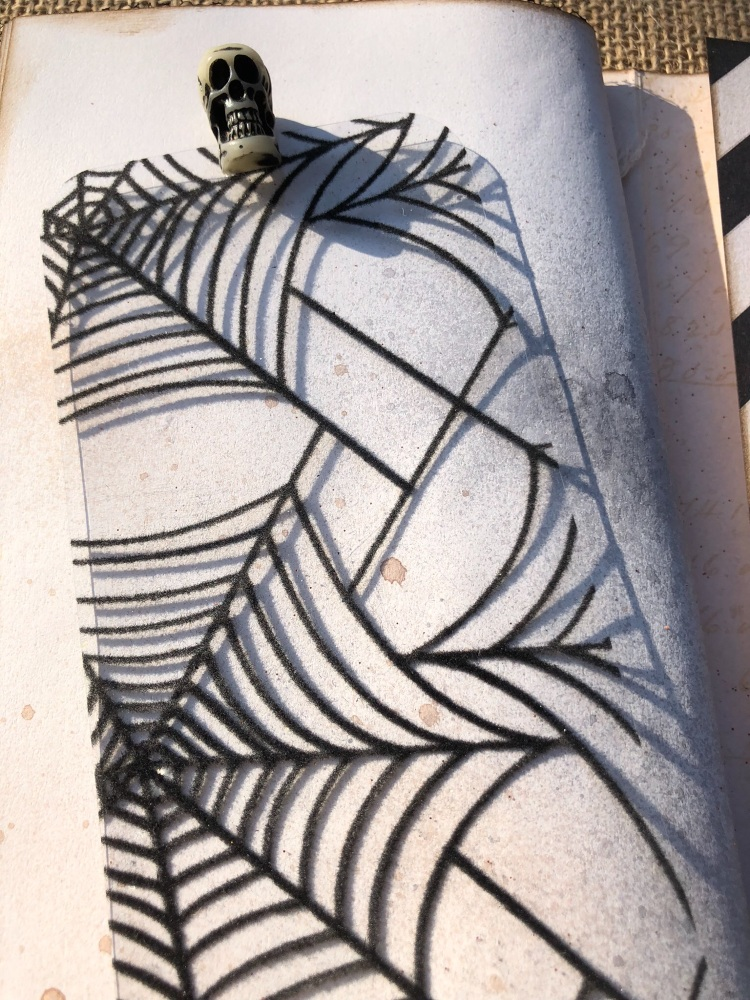 Halloween TN flocked spider web acetate skull bookmark