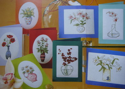 Flowers in Vases Cards ~ Eight Cross Stitch Charts