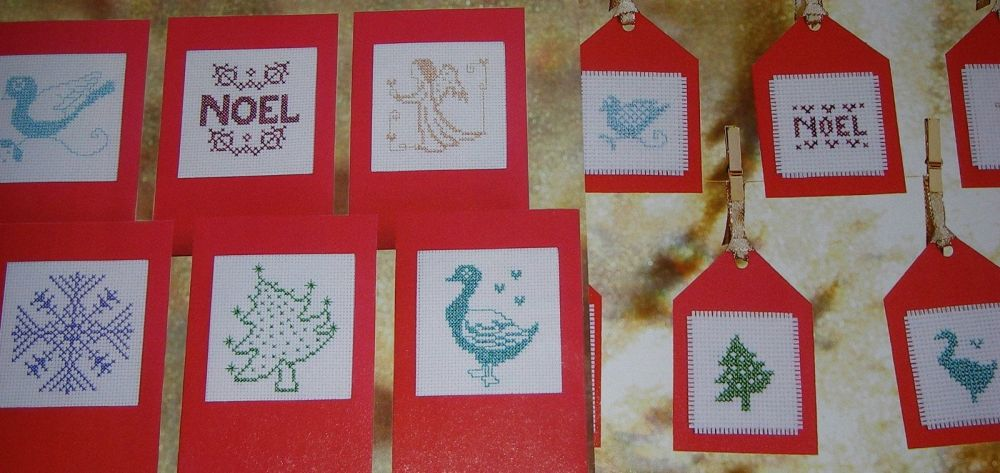 Sparkling Metallic Thread Christmas Cards & Matching Tags ~ Twelve Cross St