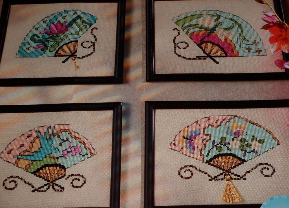 Oriental Chinese Fans ~ Four Cross Stitch Charts