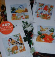 Four Winter Garden Bird Cards ~ Cross Stitch Carts