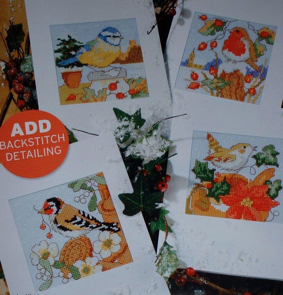 Four Winter Garden Bird Cards ~ Cross Stitch Carts