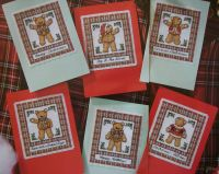 Six Tartan Teddy Bear Christmas Cards ~ Cross Stitch Charts