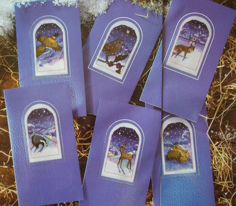 Six Snowy Winter's Night Animal Cards ~ Cross Stitch Charts