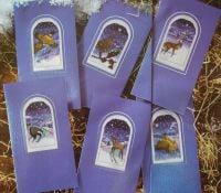 Six Snowy Winter's Night Animal Cards ~ Cross Stitch Charts