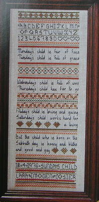 Monday's Child Band Sampler ~ Embroidery Pattern