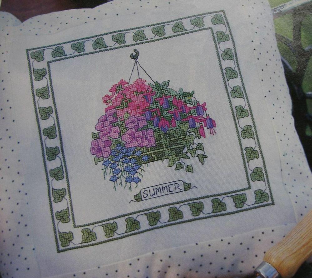 Summer Flowers Hanging Basket ~ Cross Stitch Chart