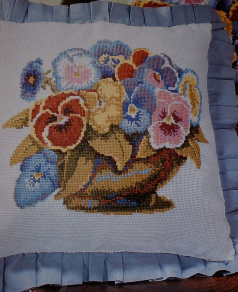 Kaffe Fassett: Bowl of Pansies Cushion ~ Cross Stitch Chart