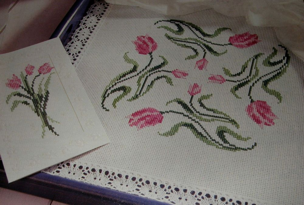 Tulips Card, Table Mat & Border ~ Three Cross Stitch Charts