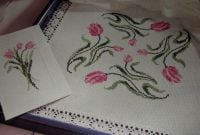 Tulips Card, Table Mat & Border ~ Three Cross Stitch Charts