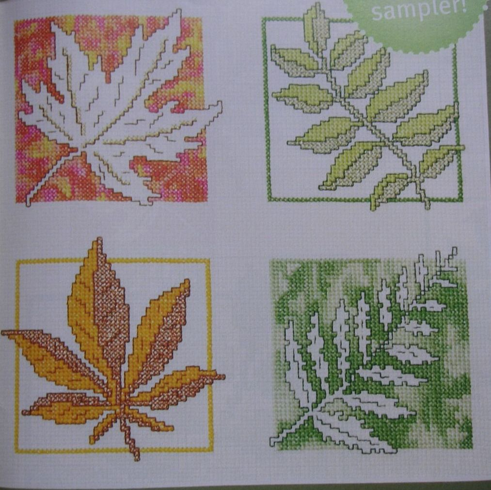 Changing Colours of Autumn Leaves Assisi & Cross Stitch Sampler ~ Cross Sti