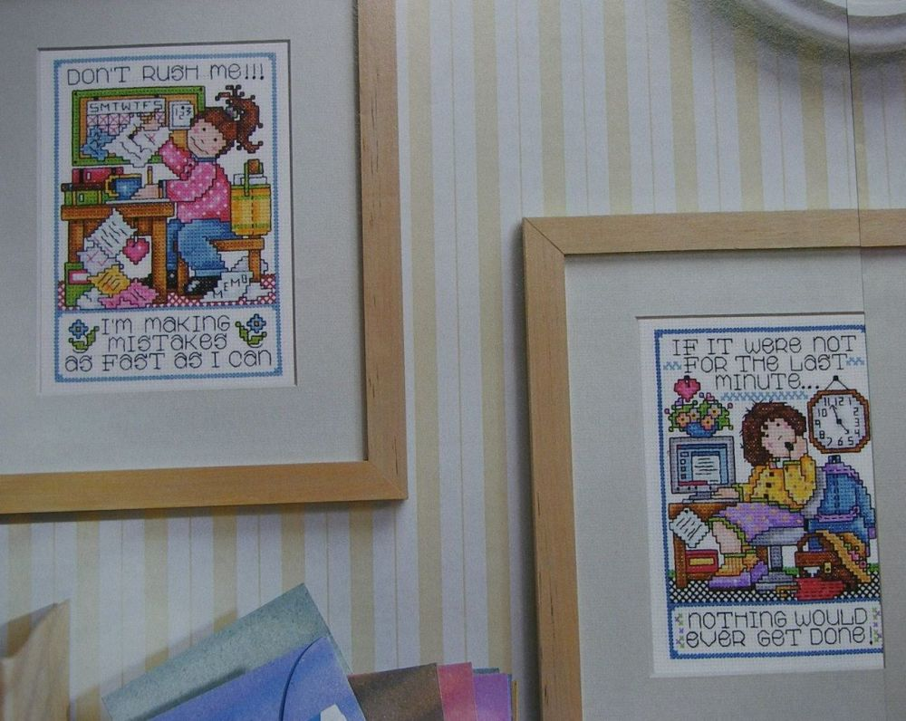 Nine to Five Office Sayings ~ Three Cross Stitch Charts