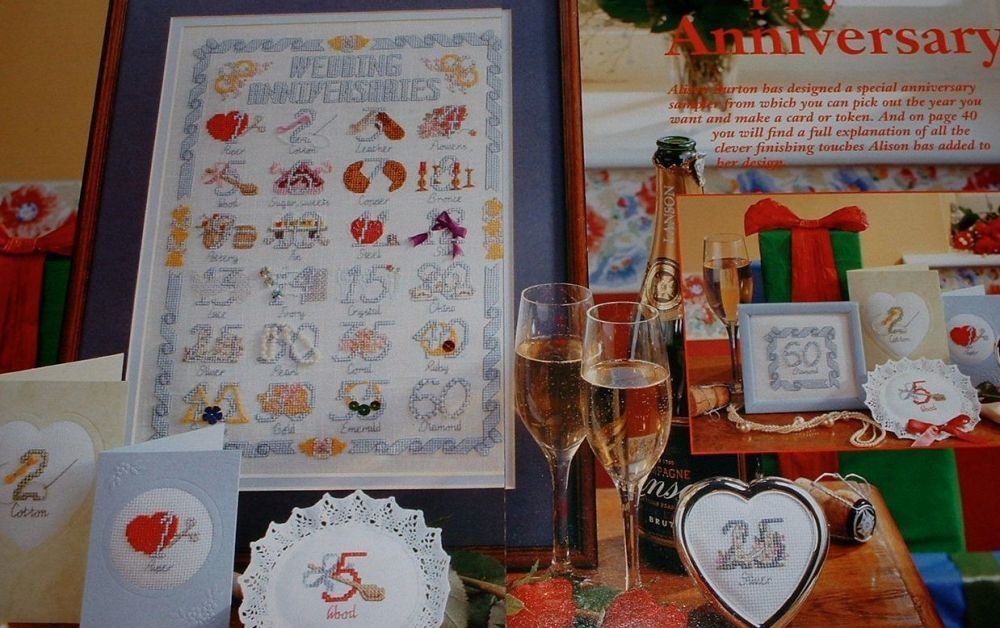 Wedding Anniversary Sampler / Cards ~ Cross Stitch Charts