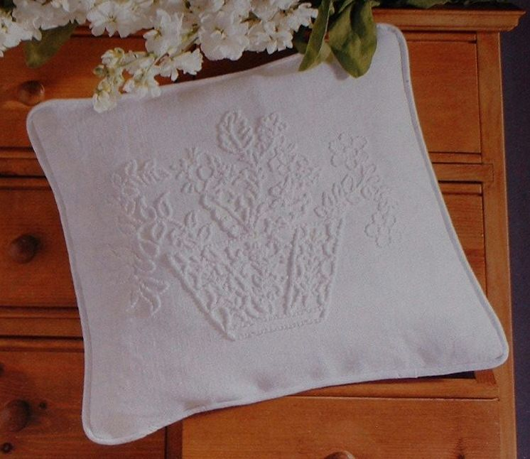 Basket of Flowers - Candlewicking Embroidery Cushion ~ Candlewicking Patter