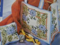 Blue Beaded Floral Bag & Pillow ~ Cross Stitch Charts