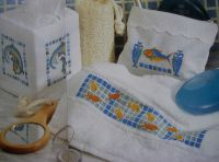 Three Fish Mosaic Bathroom Designs ~ Cross Stitch Charts