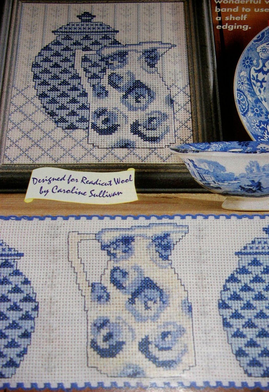 Blue & Cream China ~ TWO Cross Stitch Charts