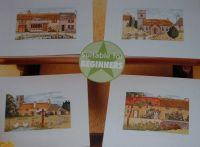 Four English Village Cards ~ Cross Stitch Charts