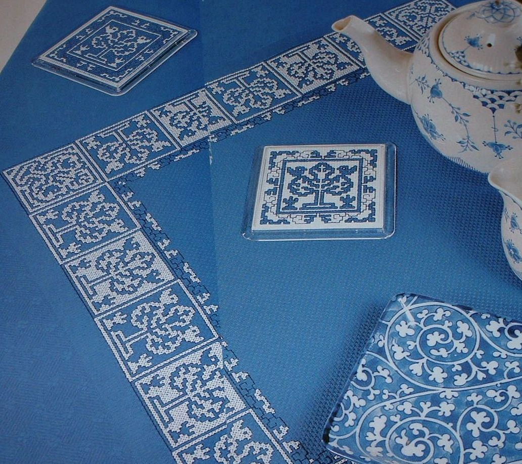 Blue & White Assisi Tablecloth & Coasters ~ Cross Stitch Charts