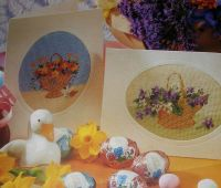 Baskets of Spring Flowers Cards ~ Two Needlepoint Patterns