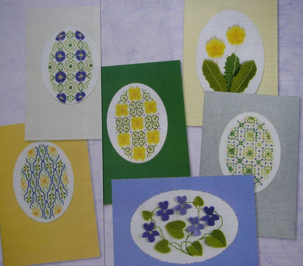 Blackwork & Felt Applique Spring Flower Cards ~ Cross Stitch Charts