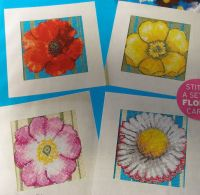 Four Vibrant Floral Flower Cards ~ Cross Stitch Charts