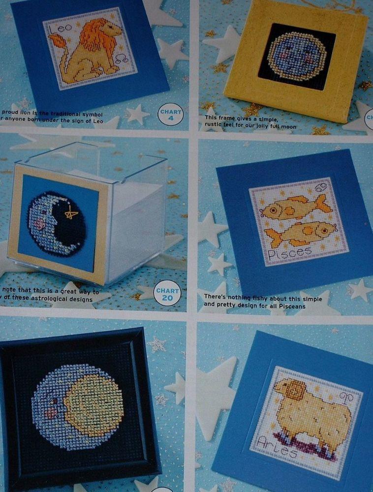 Zodiac Signs, Stars, Moons, Sun Cards ~ 31 Cross Stitch Charts