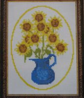 Sunflowers in a Rustic Vase ~ Cross Stitch Chart
