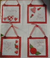 Stitched Valentine Cards/ Hangings ~ Cross Stitch Charts
