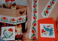 Stylized Bird & Flower Folk Motifs ~ Four Cross Stitch Charts