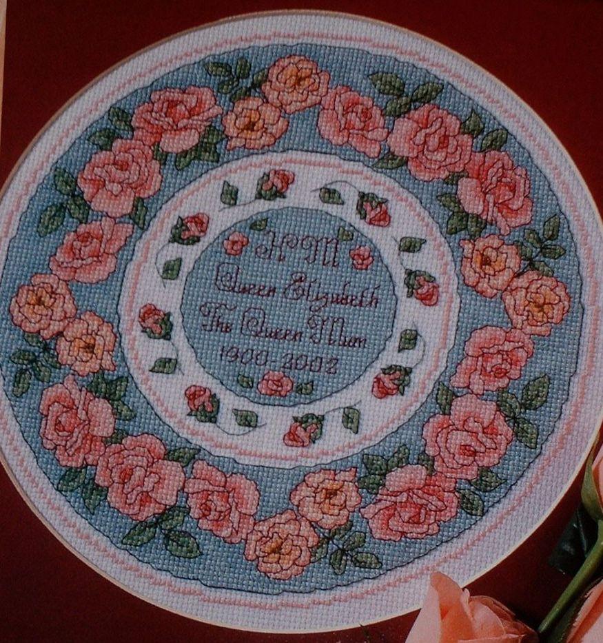 Pink Roses Circular Plate ~ Cross Stitch Chart