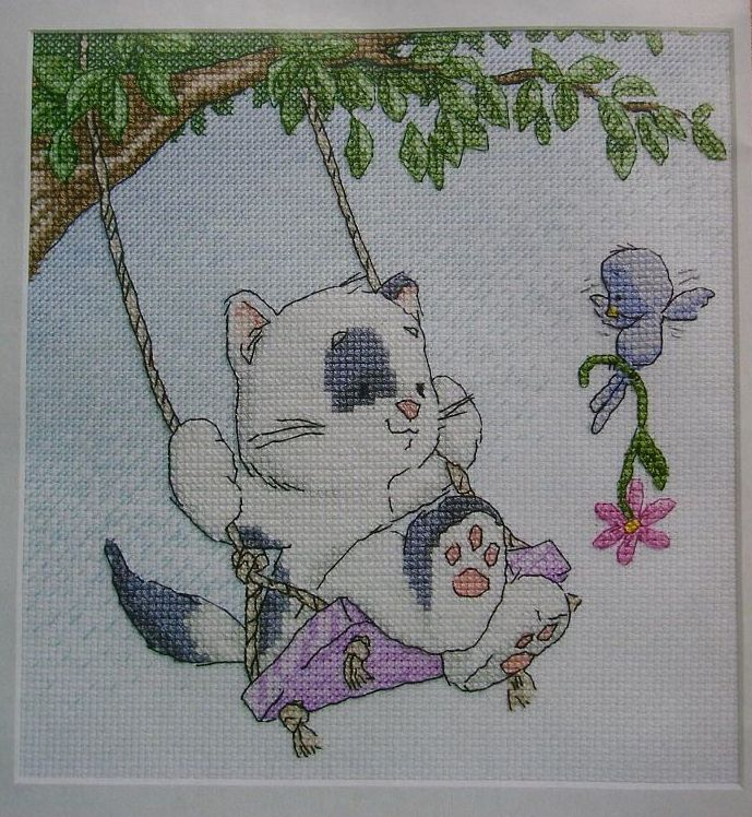 Cat On A Swing ~ Cross Stitch Chart
