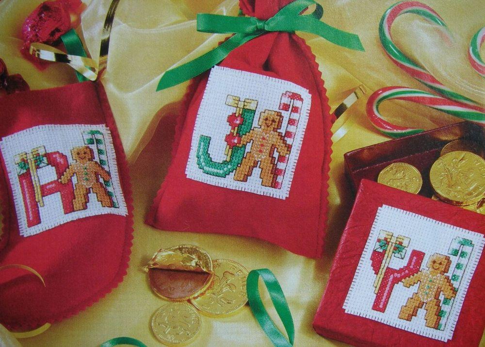 Christmas Gingerbread Man ABC Alphabet ~ Cross Stitch Charts