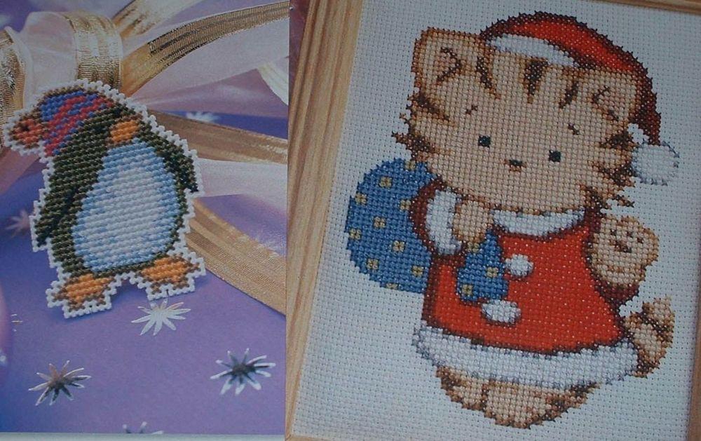 Penguin & Santa Kitten ~ TWO Cross Stitch Charts