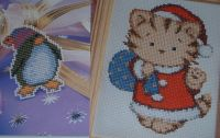 Penguin & Santa Kitten ~ TWO Cross Stitch Charts