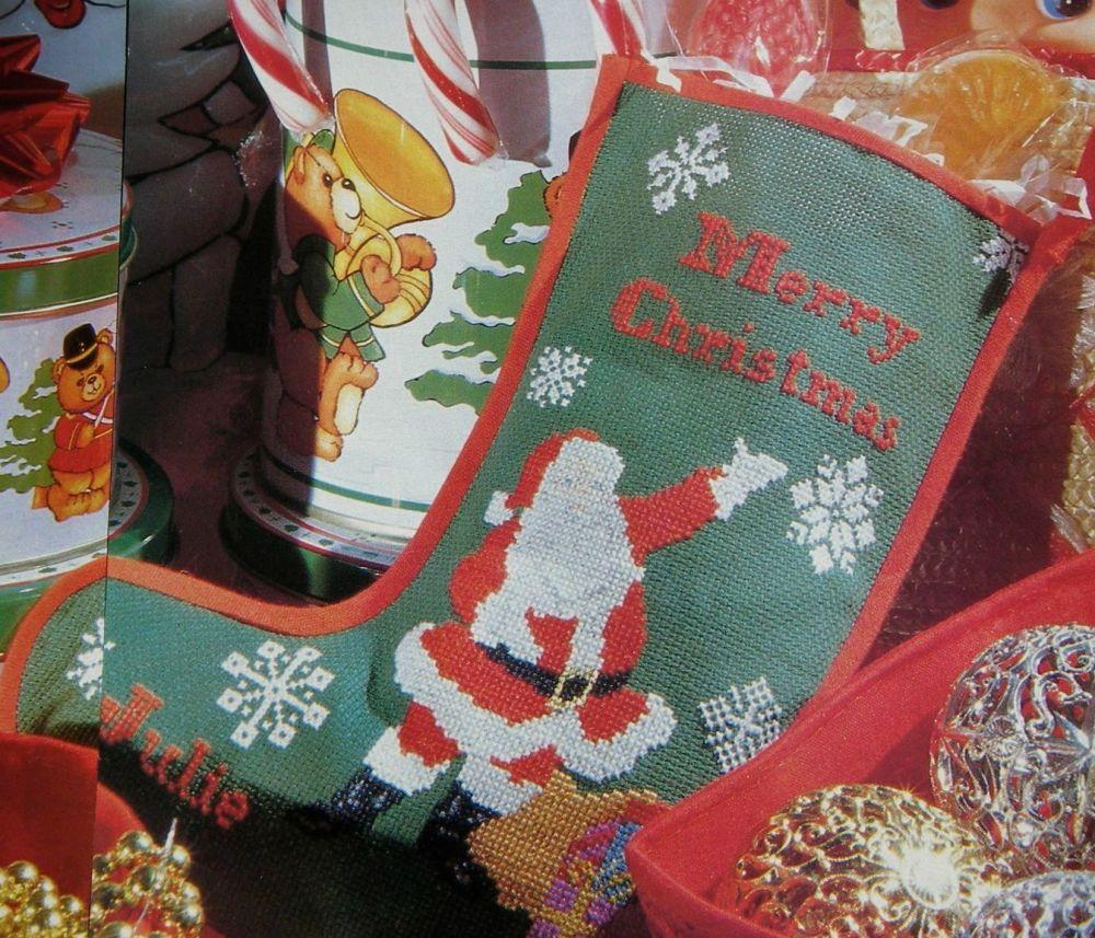 Santa & Snowflake Christmas Stocking ~ Cross Stitch Chart