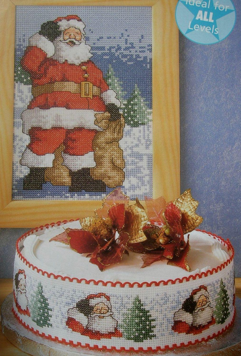Christmas Santa Picture & Cakeband  ~ Cross Stitch Charts