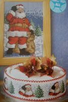 Christmas Santa Picture & Cakeband  ~ Cross Stitch Charts