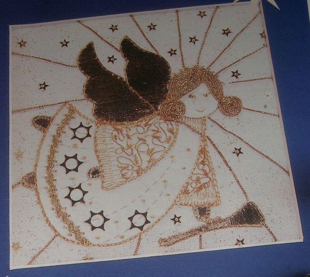 Golden Christmas Angel ~ Goldwork Embroidery Pattern