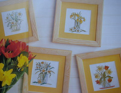 Vases of Spring Flowers ~ Four Cross Stitch Charts