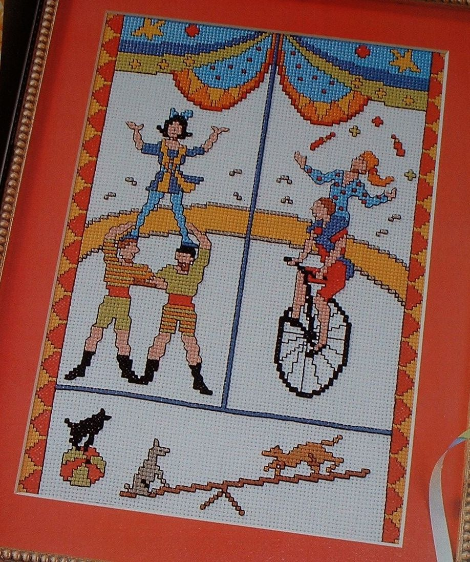 Circus - Unicyclist - Acrobats - Juggler ~ Cross Stitch Chart