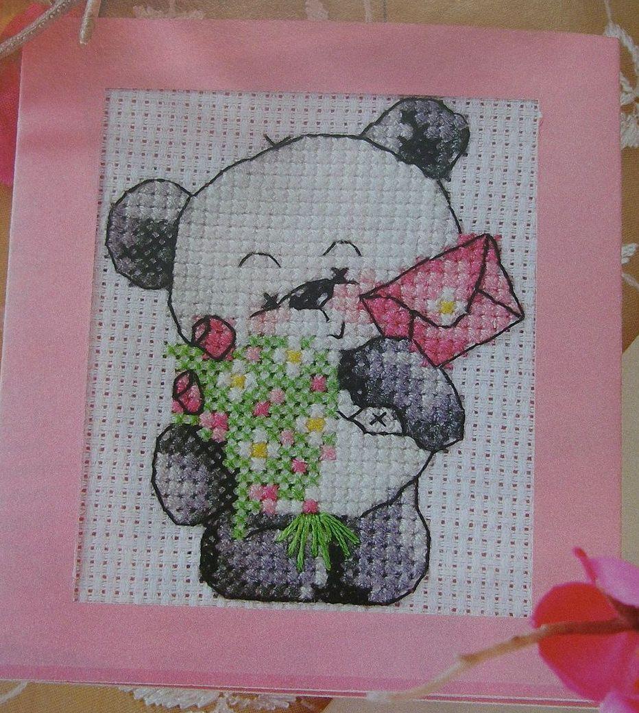 Panda Bear Card ~ Mini Cross Stitch Kit