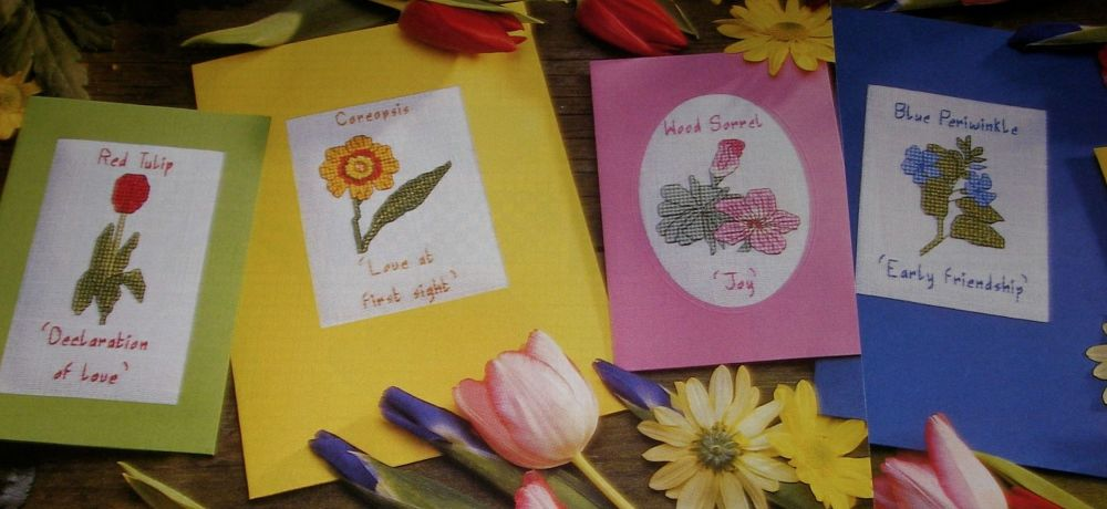 Flowers Speak a Language ~ Six Cross Stitch Cards
